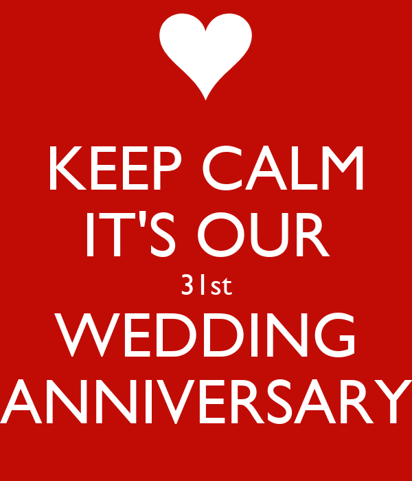 Keep Calm It S Our 31st Wedding Anniversary Poster Jay Keep Calm