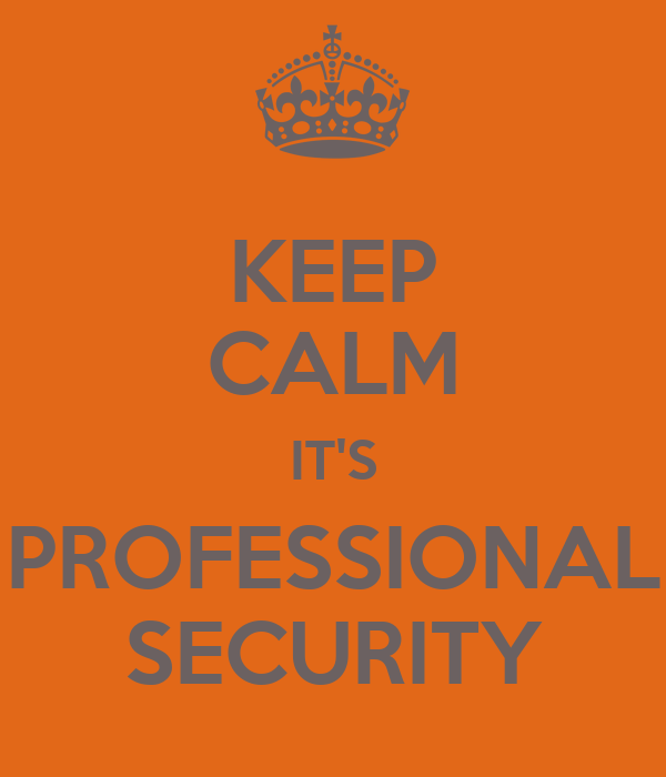 KEEP CALM IT'S PROFESSIONAL SECURITY