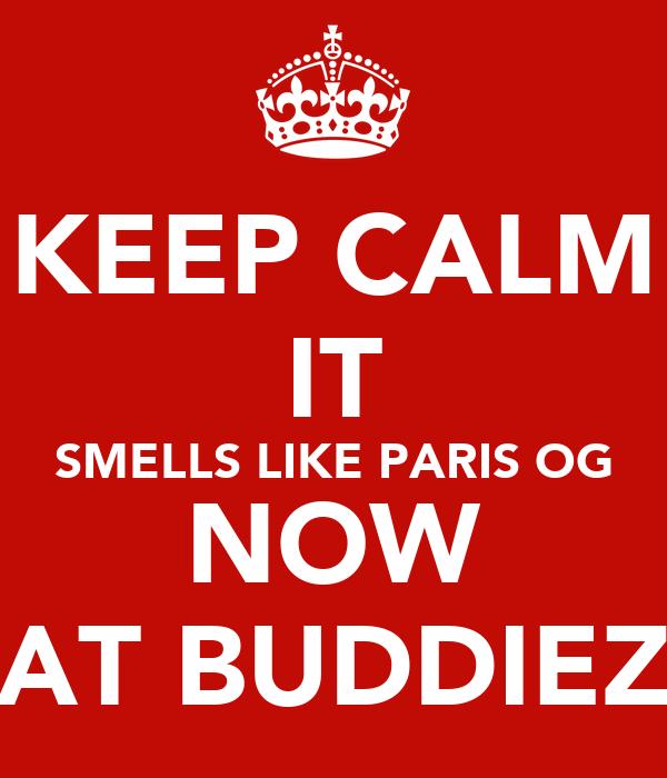 KEEP CALM IT SMELLS LIKE PARIS OG NOW AT BUDDIEZ