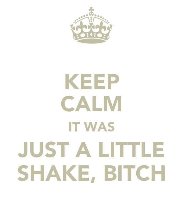 KEEP CALM IT WAS JUST A LITTLE SHAKE, BITCH
