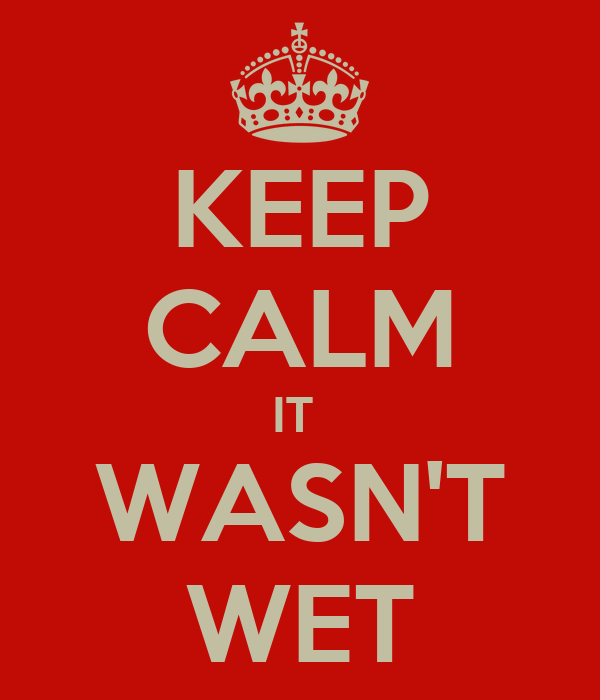 KEEP CALM IT  WASN'T WET