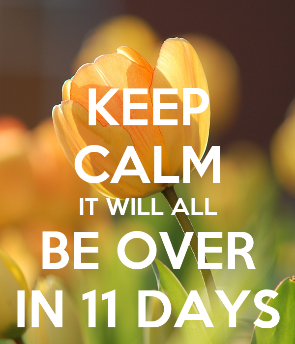 KEEP CALM IT WILL ALL BE OVER IN 11 DAYS