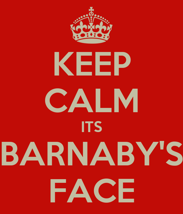 KEEP CALM ITS BARNABY'S FACE