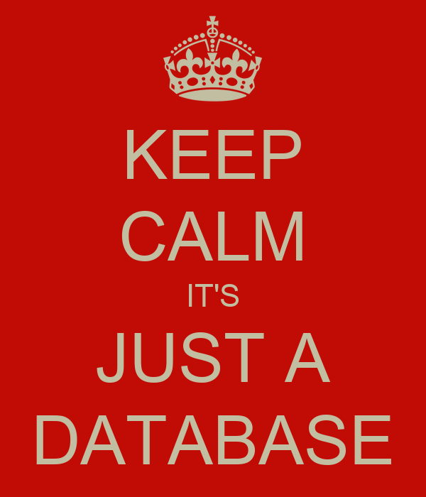 KEEP CALM IT'S JUST A DATABASE
