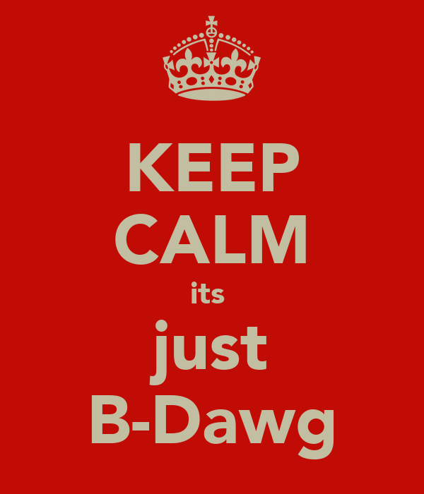 KEEP CALM its  just B-Dawg