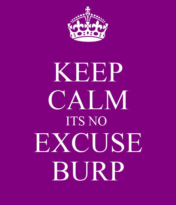 KEEP CALM ITS NO  EXCUSE BURP
