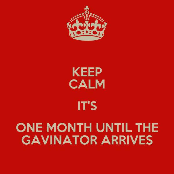 KEEP CALM IT'S ONE MONTH UNTIL THE GAVINATOR ARRIVES