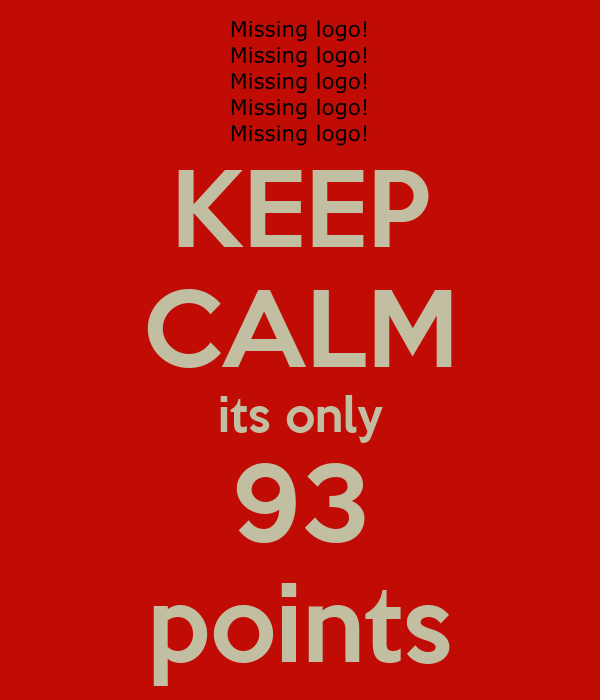 KEEP CALM its only 93 points