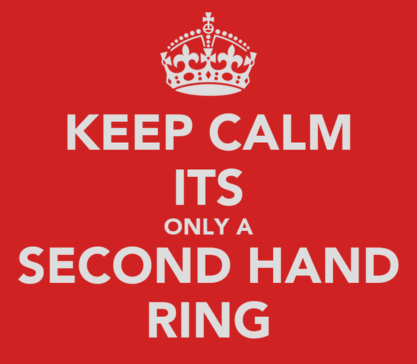 KEEP CALM ITS ONLY A SECOND HAND RING