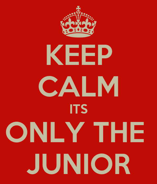 KEEP CALM ITS ONLY THE  JUNIOR