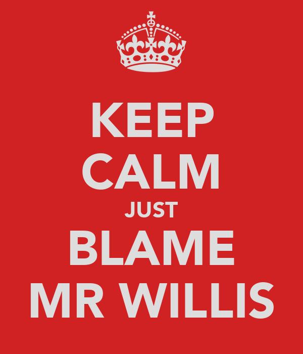 KEEP CALM JUST BLAME MR WILLIS