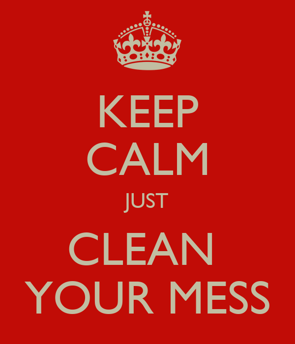 KEEP CALM JUST CLEAN  YOUR MESS