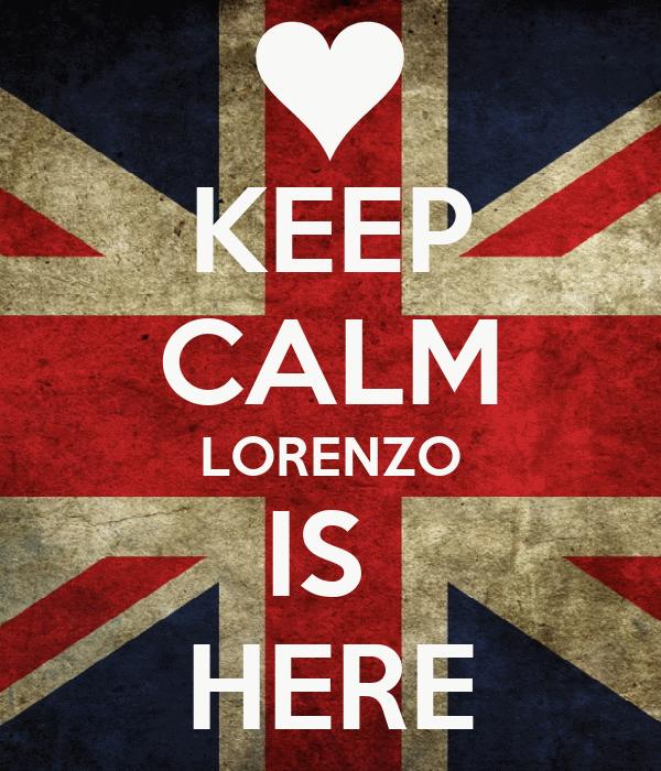 KEEP CALM LORENZO IS  HERE