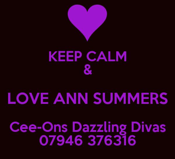 KEEP CALM & LOVE ANN SUMMERS Cee-Ons Dazzling Divas 07946 376316