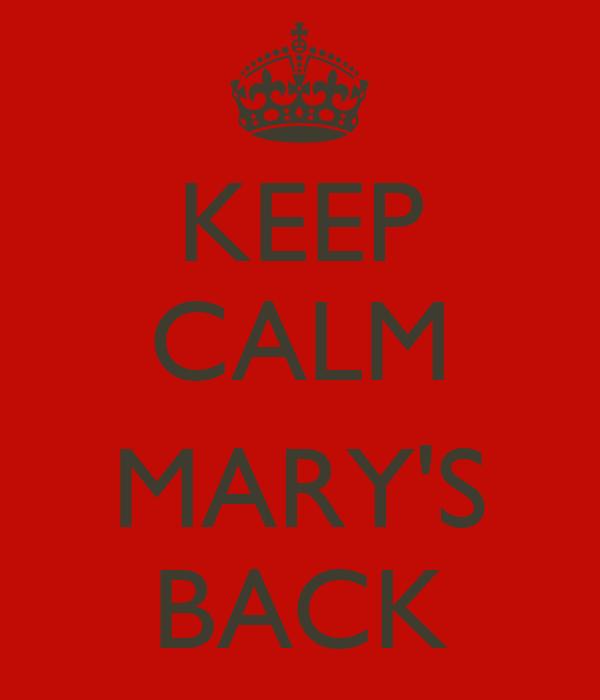 KEEP CALM  MARY'S BACK