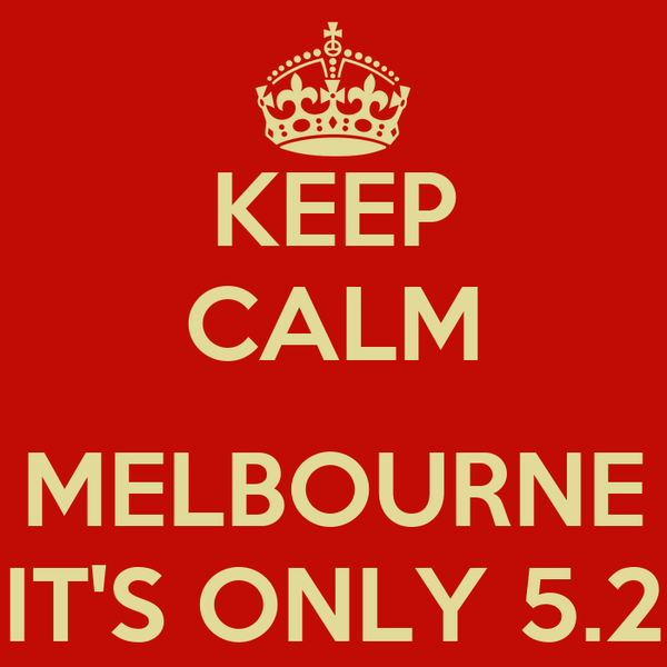 KEEP CALM  MELBOURNE IT'S ONLY 5.2