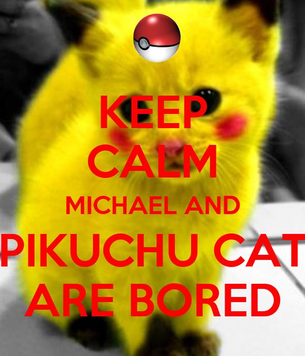 KEEP CALM MICHAEL AND PIKUCHU CAT ARE BORED