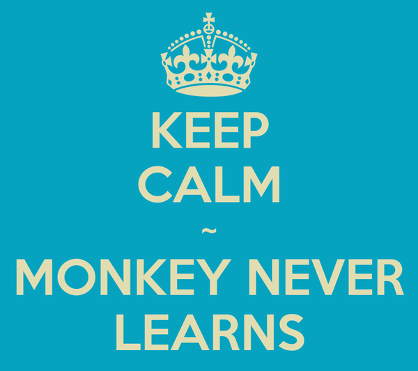 KEEP CALM ~ MONKEY NEVER LEARNS