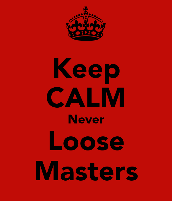 Keep CALM Never Loose Masters