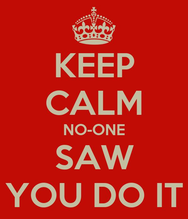 KEEP CALM NO-ONE SAW YOU DO IT
