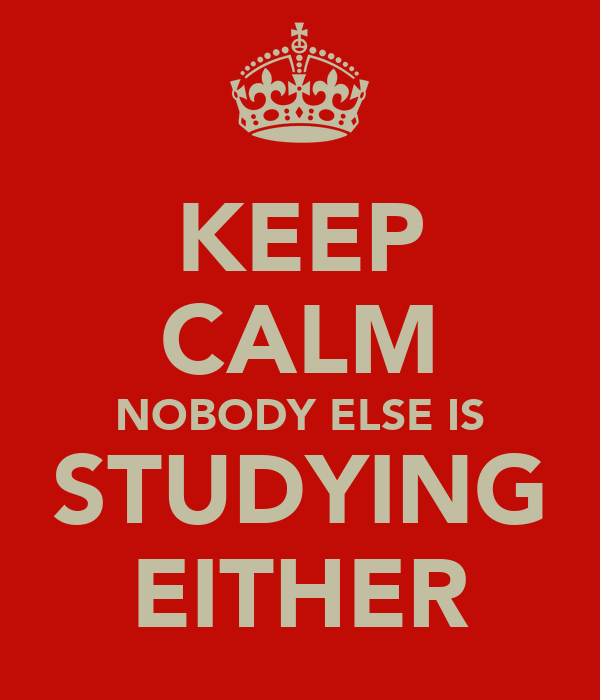 KEEP CALM NOBODY ELSE IS STUDYING EITHER