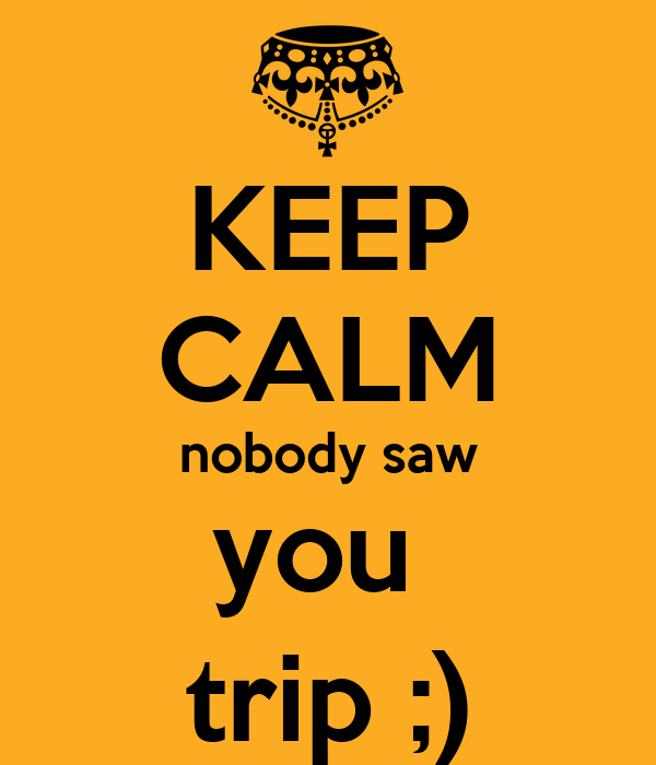 KEEP CALM nobody saw you  trip ;)
