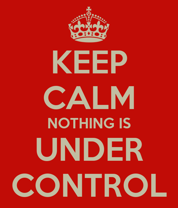 KEEP CALM NOTHING IS UNDER CONTROL