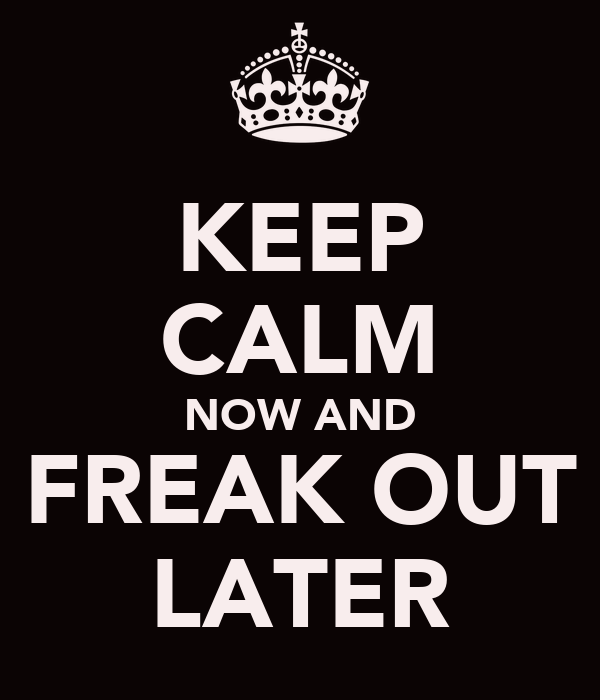 KEEP CALM NOW AND FREAK OUT LATER