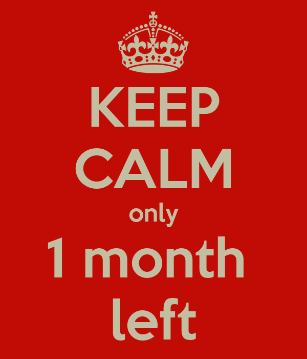 KEEP CALM only 1 month  left
