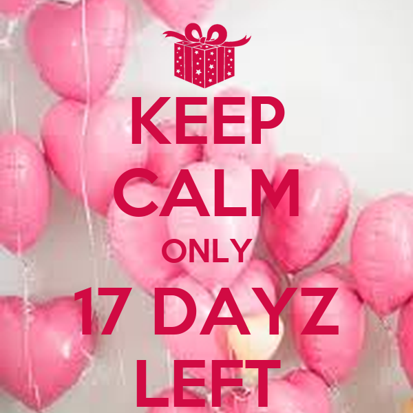KEEP CALM ONLY 17 DAYZ LEFT