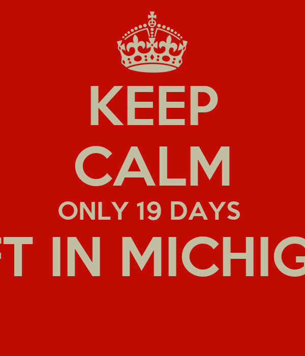 KEEP CALM ONLY 19 DAYS  LEFT IN MICHIGAN