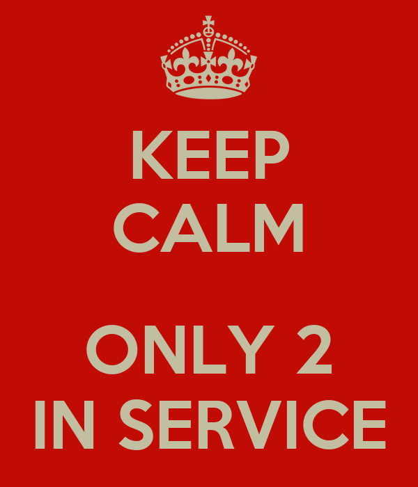 KEEP CALM  ONLY 2 IN SERVICE