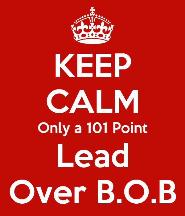 KEEP CALM Only a 101 Point Lead Over B.O.B
