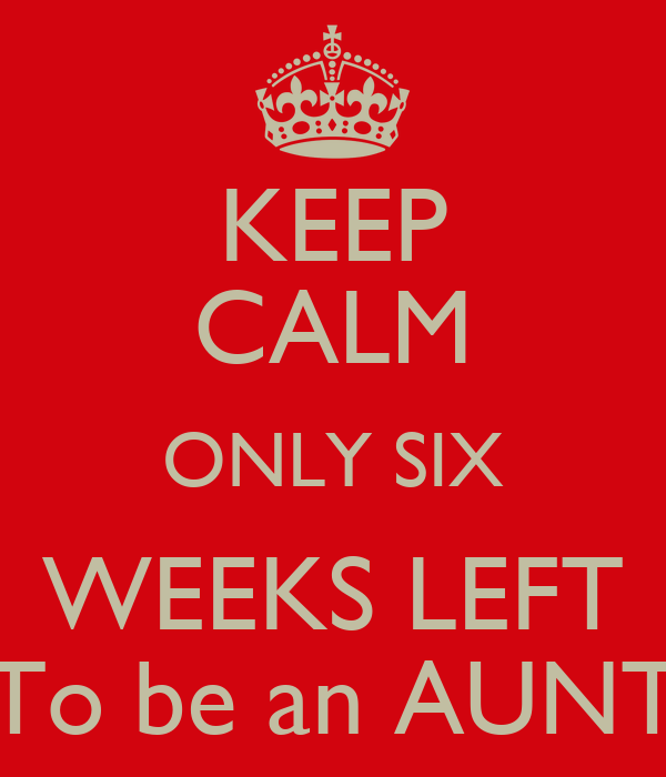 KEEP CALM ONLY SIX WEEKS LEFT To be an AUNT