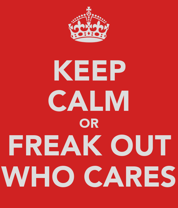 KEEP CALM OR FREAK OUT WHO CARES