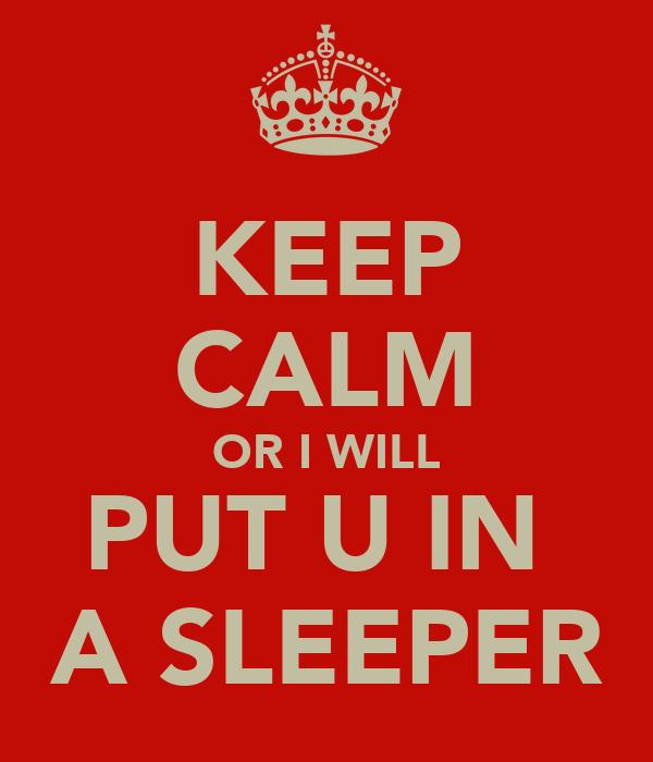 KEEP CALM OR I WILL PUT U IN  A SLEEPER