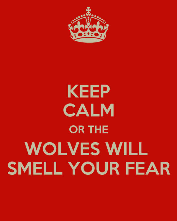 KEEP CALM OR THE WOLVES WILL  SMELL YOUR FEAR