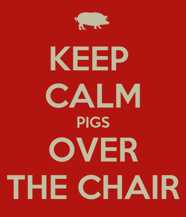KEEP  CALM PIGS OVER THE CHAIR