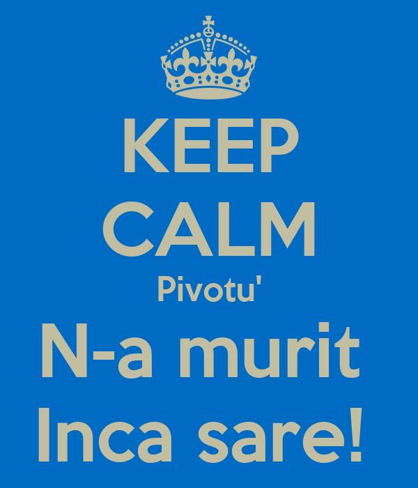 KEEP CALM Pivotu' N-a murit  Inca sare!