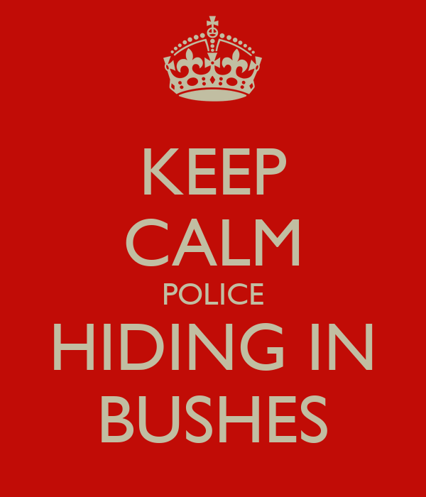 KEEP CALM POLICE HIDING IN BUSHES
