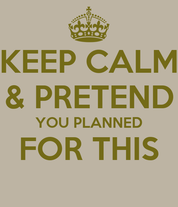 KEEP CALM & PRETEND YOU PLANNED FOR THIS