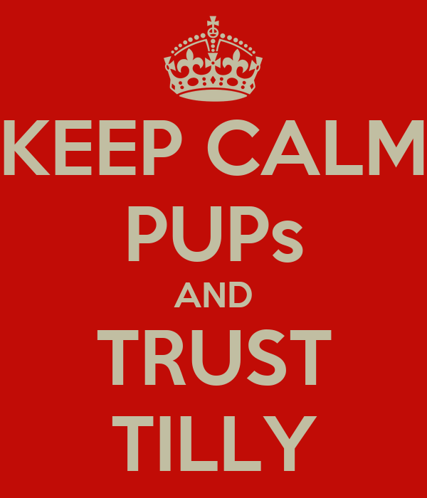 KEEP CALM PUPs AND TRUST TILLY