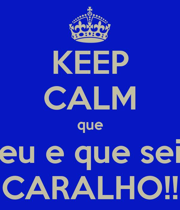 KEEP CALM que eu e que sei CARALHO!!