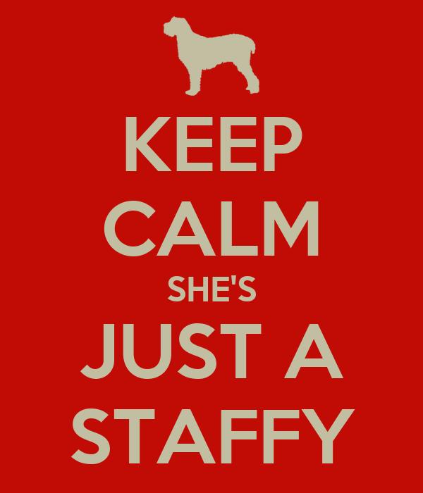 KEEP CALM SHE'S JUST A STAFFY