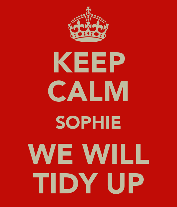 KEEP CALM SOPHIE WE WILL TIDY UP