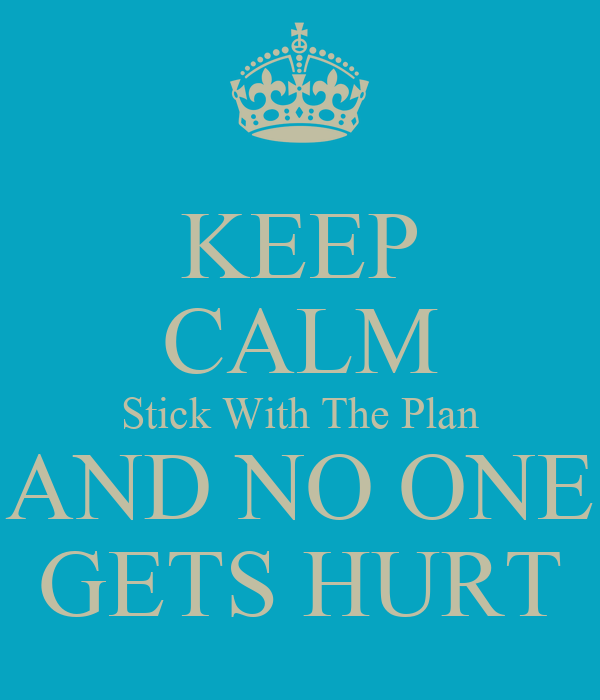 KEEP CALM Stick With The Plan AND NO ONE GETS HURT