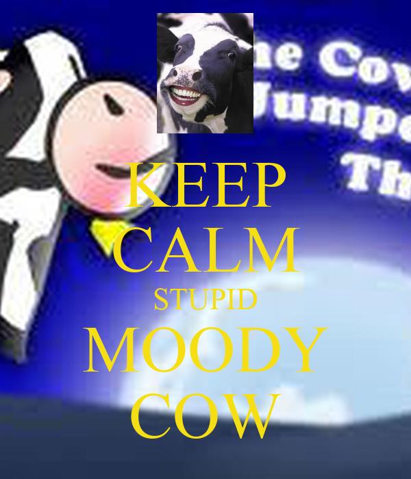 KEEP CALM STUPID MOODY COW