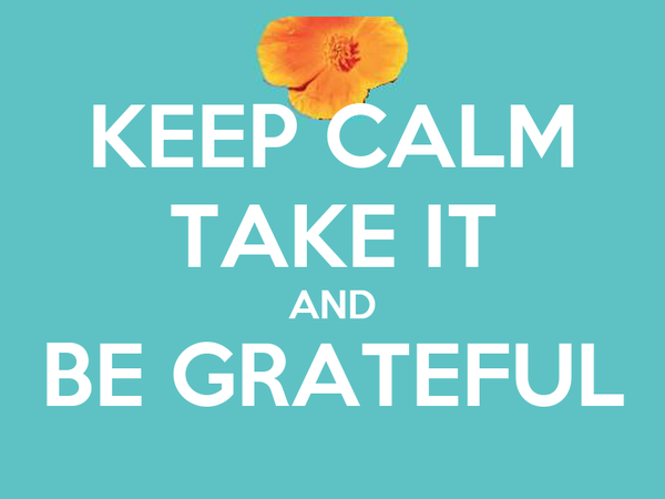 KEEP CALM TAKE IT AND BE GRATEFUL