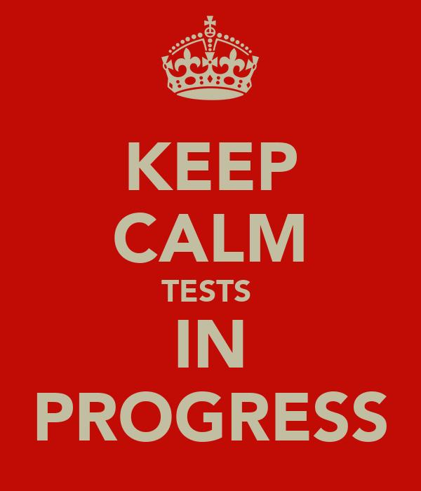 KEEP CALM TESTS  IN PROGRESS