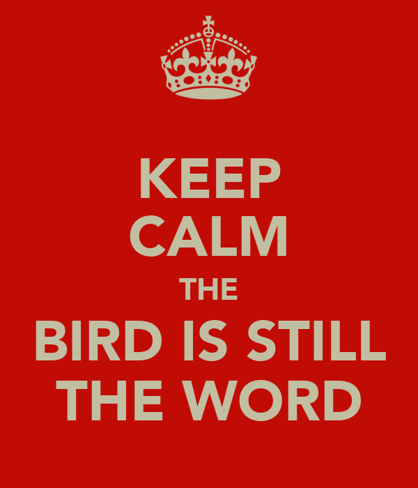 KEEP CALM THE BIRD IS STILL THE WORD